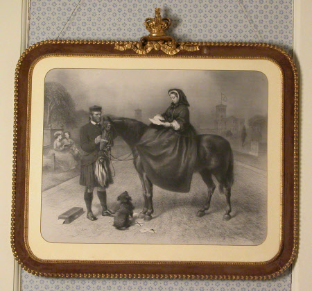 Queen Victoria (1819-1901) on horseback at Osborne attended by her personal servant John Brown ...