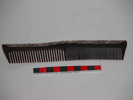 19th century silver and horn hair comb, from the UK National Trust Collections.
