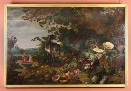 An Extensive Landscape with Exotic Flowers, Fruit and Vegetables, a Goat and a 'Noli me tangere' in ...
