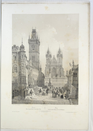View of the Grand Place and the Hotel de Ville, Prague (after Auguste Mathieu)