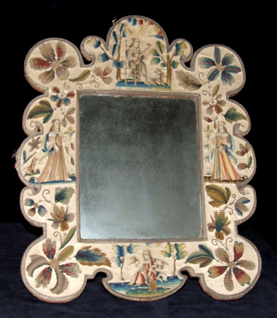 Embroidered mirror frame