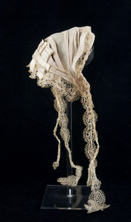 Another bonnet, 1865-1870, from the Snowshill Wade Costume Collection