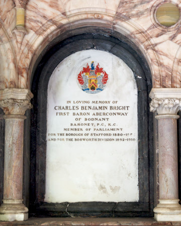 Memorial to Charles Benjamin Bright McLaren, 1st Baron Aberconway, MP (1850-1934)