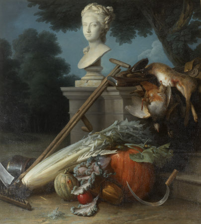 Garden Still Life, with Implements, Vegetables, Dead Game, and a Bust of Ceres (The Attributes of ...