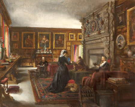 The Great Hall, Baddesley Clinton, with Mr and Mrs Mamion Ferrers, Edward Heneage Dering and Lady ...