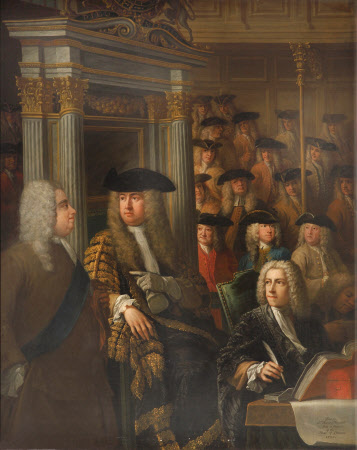 Speaker Arthur Onslow calling upon Sir Robert Walpole to speak in the House of Commons