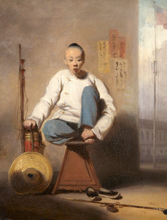 A Chinese Barber outside the American Factory in Canton (Guangzhou, China)