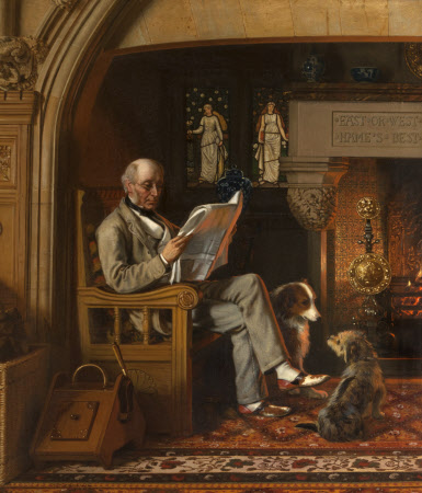 Sir William George Armstrong, 1st Baron Armstrong of Cragside (1810-1900), in the Inglenook at ...