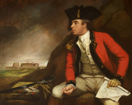 Captain Sir Thomas Hyde Page (1746-1821) holding a Plan of Fort Landguard and seen in the distance