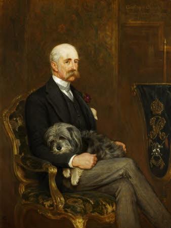 Godfrey Charles Morgan, 1st Viscount Tredegar (1831 - 1913)  with his Skye Terrier, 'Peeps'