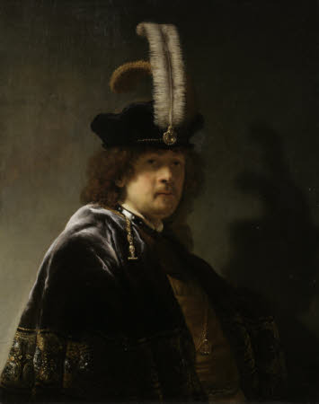 Self-portrait, wearing a Feathered Bonnet