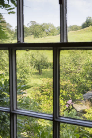A view across the gardens at Hill Top, Cumbria, home of Beatrix Potter