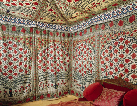 The Sultan Tipu's gloriously decorative tent, in the Clive Museum at Powis Castle, Powys, Wales