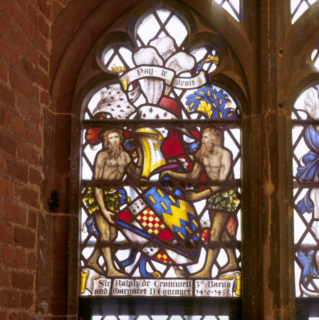 An heraldic stained glass window commemorating Sir Ralph Cromwell at Tattershall Castle, Lincolnshire