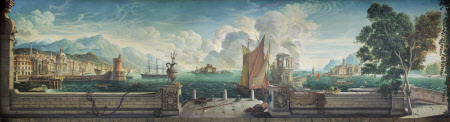 Capriccio of a Mediterranean Seaport with British and Italian Buildings, the Mountains of ...
